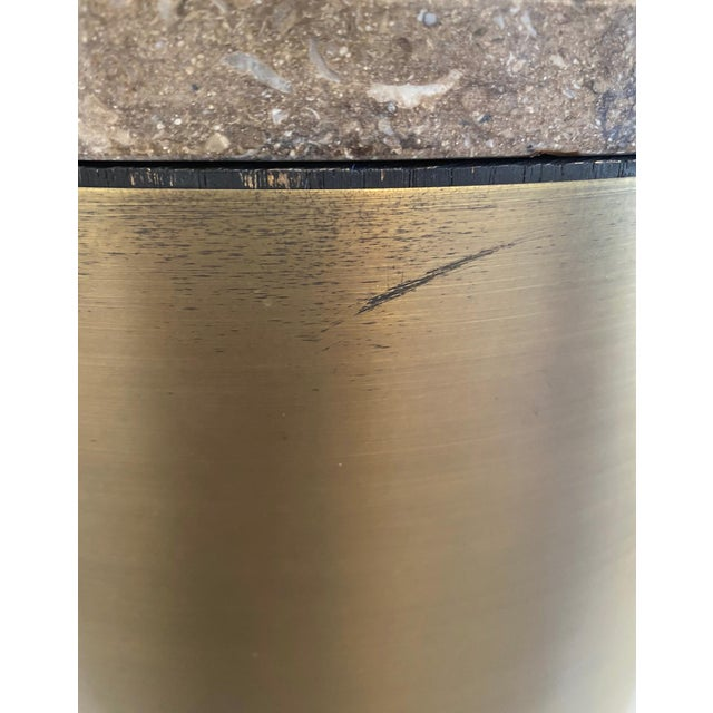Paul Mayen Style Matte Bronze Drum Table For Sale In Palm Springs - Image 6 of 9
