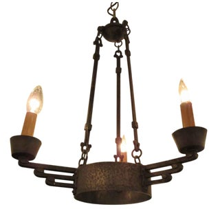 Early 20th C. Vintage Hand Hammered Iron Chandelier For Sale