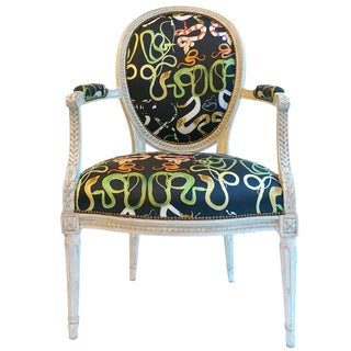 French Balloon Back Chair x Voutsa Snakes on Black For Sale