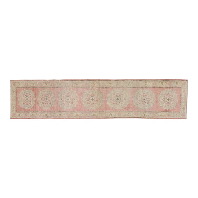 "Vintage Turkish Hand Knotted Whitewash Organic Wool Fine Weave Runner Rug,2'6""x11'6"" For Sale"
