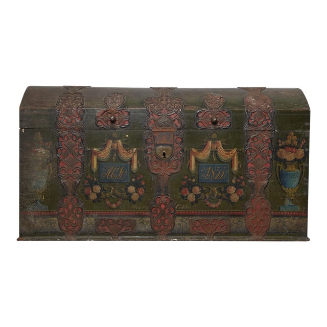 Danish Original Painted Dowry Chest Circa 1835 For Sale