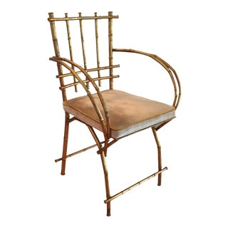 Hollywood Regency Bamboo Metal Chair For Sale