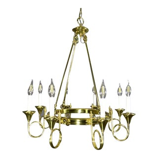 French Empire Style Brass Chandelier With Hunting Horns For Sale