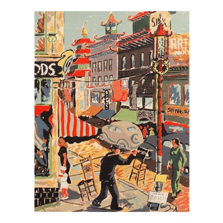 'China Town, San Francisco' by Harry D. Reeks; Mid- Century California Serigraph For Sale