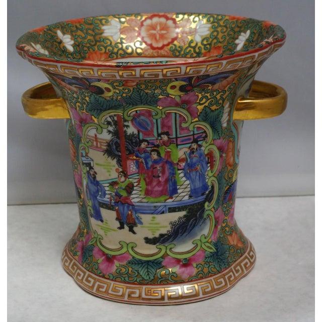 Blue Vintage Chinese Rose Medallion Vase With Gold Handles For Sale - Image 8 of 9