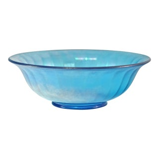 Vintage Teal Iridescent Fluted Bowl For Sale