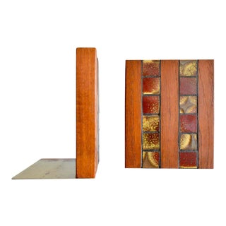 1960s Gordon and Jane Martz Walnut and Ceramic Tile Inlay Bookends For Sale