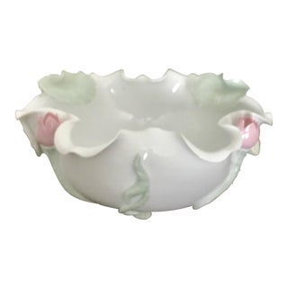 White Porcelain Bowl With Green Lily Pads and Pink Flower Buds For Sale