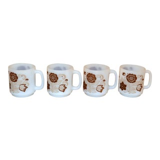 Glasbake Brown Floral Mugs - Set of 4 For Sale