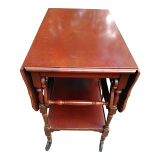 Vintage Imperial Mahogany Drop Leaf Tea Cart With Glass Serving Tray For Sale