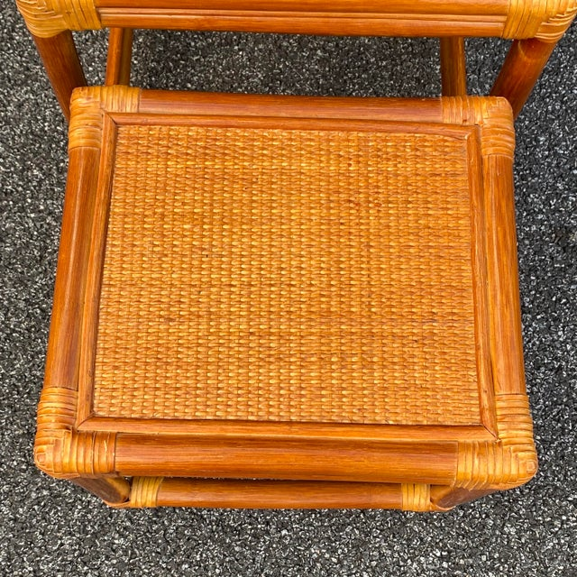 Boho Chic Leather Wrapped Rattan Nesting Tables - Set of 3 For Sale - Image 3 of 13