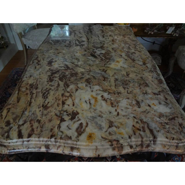 1940s French Marble Top Wrought Iron Center Table For Sale In Houston - Image 6 of 9