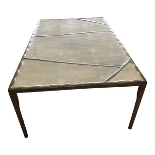 Art Deco R + Y Augousti Natural Shagreen and Bronze Patina Brass Custom Coffee Table For Sale