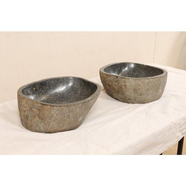Black Pair of Carved and Polished Grey River Rock Sink Basins For Sale - Image 8 of 12