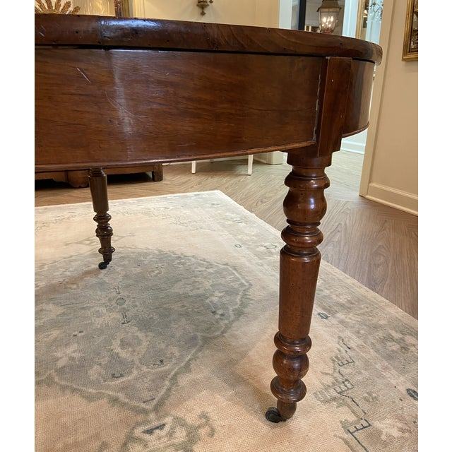 19th Century French Walnut Demilune Table With Turned Legs on Casters For Sale In Nashville - Image 6 of 11