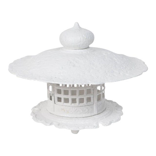 1960s Large Scale White Lacquer Cast Iron Pagoda For Sale