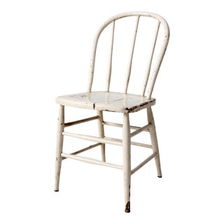 Vintage White Spindle Back Farmhouse Chair For Sale
