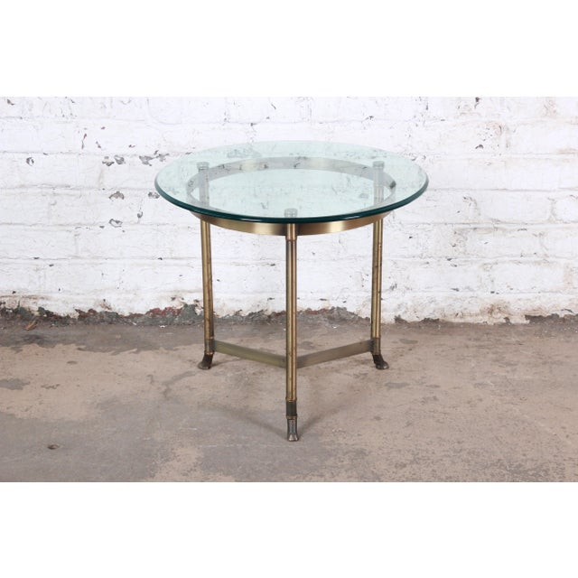 Labarge Midcentury Hollywood Regency Brass and Glass Hooved Feet Side Table For Sale In South Bend - Image 6 of 6