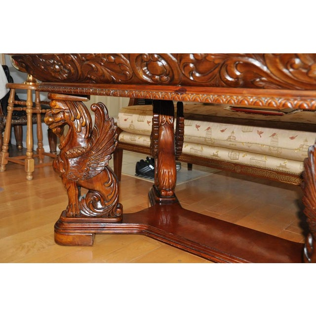 Vintage Renaissance Style Wood Carved Winged Griffin Table and Pink Granite Top For Sale - Image 10 of 13