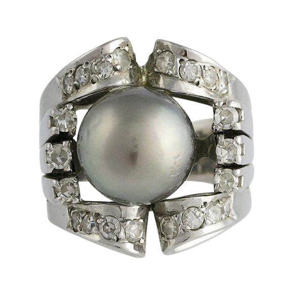 Vintage 18k White Gold Silver South Sea Pearl Diamond Ring For Sale