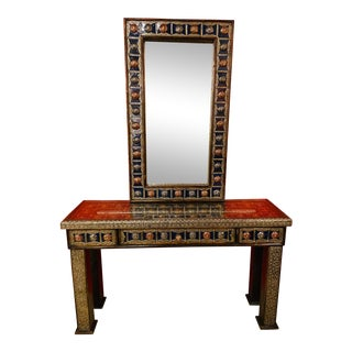 Vintage Moroccan Hollywood Regency Style Console & Mirror For Sale