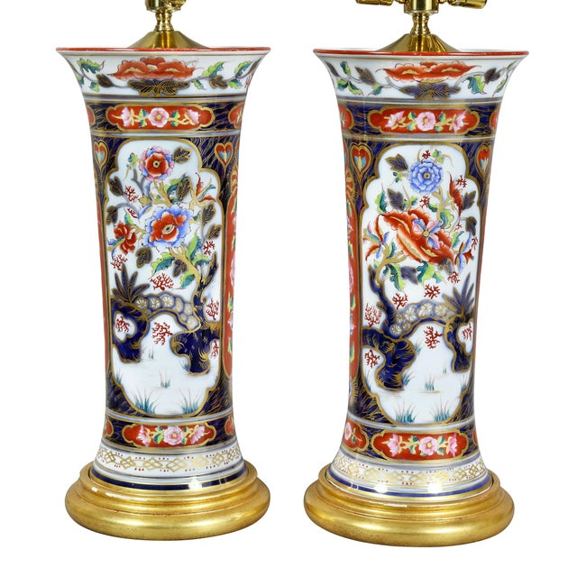 Traditional Pair of Victorian Imari Pattern Table Lamps For Sale - Image 3 of 11