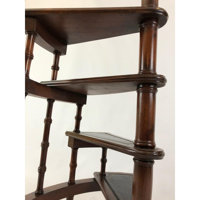 1980s Vintage English Style Decorative Mahogany & Embossed Leather Library Stairs For Sale - Image 9 of 12