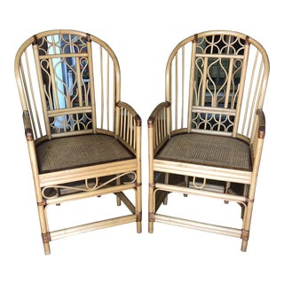 1970s Vintage Brighton Bamboo Chinoiserie Chairs** - a Pair For Sale