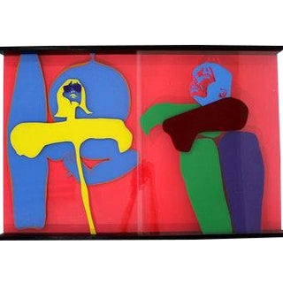 Mid Century Modern Lucite Acrylic Art Sculpture Painting by Owen Shapiro For Sale