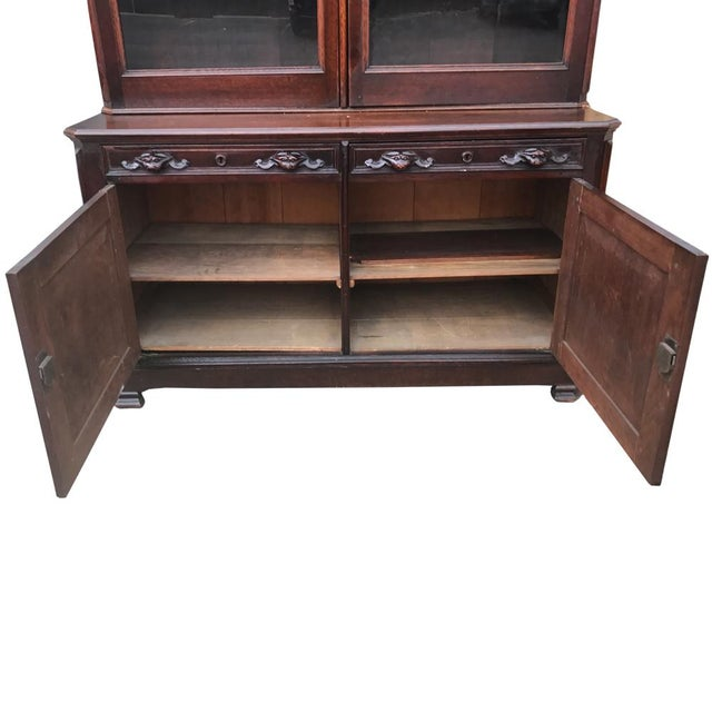 Antique English Victorian Mahogany Secretaire Bookcase Secretary Desk - Image 7 of 11