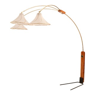 1970's Mid-Century Teak & Brass Floor Lamp With Adjustable 3 Branch Arms For Sale