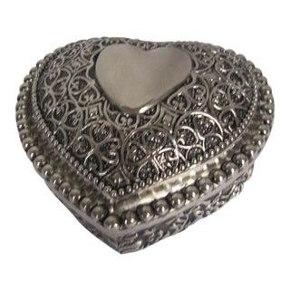 Silverplate Heart Trinket Box