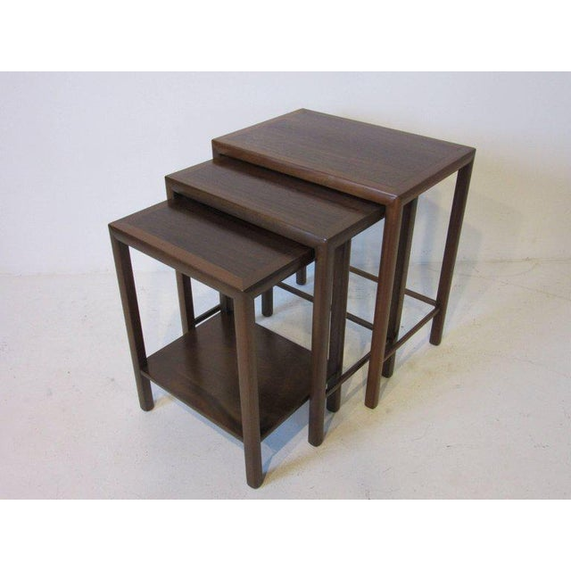 1950s Rosewood and Walnut Nesting Tables - set of 3 For Sale - Image 5 of 5