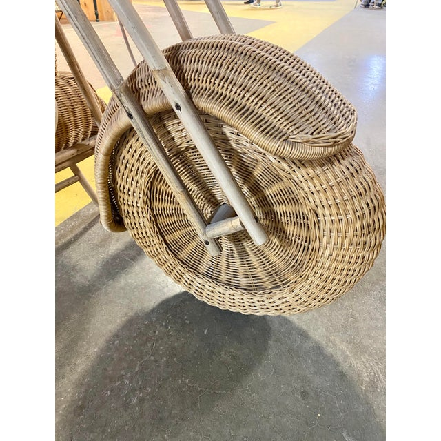 Boho Chic 1970s Handmade Life-Size Wicker Motorcycle For Sale - Image 3 of 10