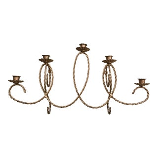 Vintage Italian Gilt 5-Candle Tole Wall Sconce