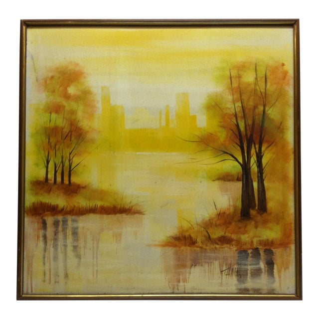 """Large """"Trees in the Skyline"""" Framed Painting on Canvas by Thomas For Sale"""