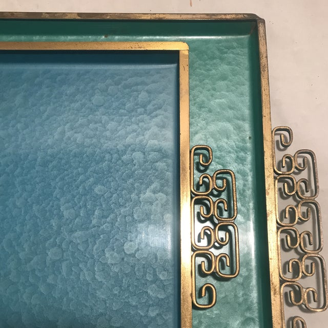 Vintage pair of mid-century teal and blue glazed metal trays by Kyes of Pasadena, labeled underside and likely circa...