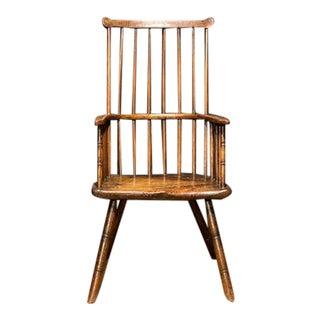 17th Century English Yorkshire Oak & Elm Comb Back Armchair For Sale