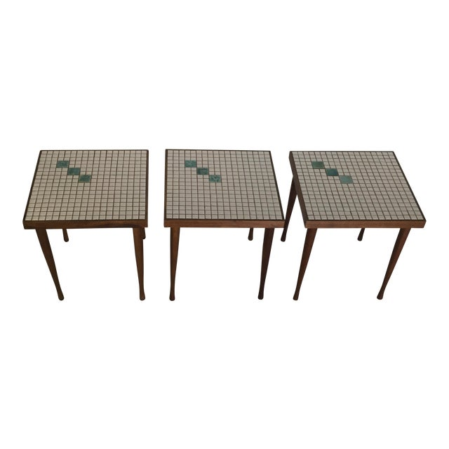 Mid-Century Tile Top Walnut Stacking Tables - Image 1 of 10