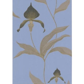 Cole & Son Orchid Wallpaper Roll - Blue/Bl For Sale