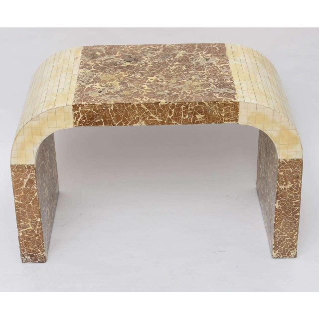 Mid-Century Modern Coconut & Bone Waterfall Stool For Sale - Image 3 of 10