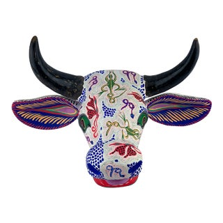 Oaxacan Hand Carved and Painted Wall Mount Animal Art Bull For Sale