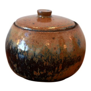 Handmade California Studio Pottery Ceramic Jar & Lid For Sale