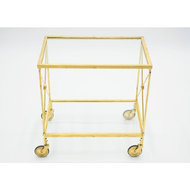 Mid-Century Modern French Neoclassical Maison Jansen Gilded Iron Bar Cart 1960s For Sale - Image 3 of 12