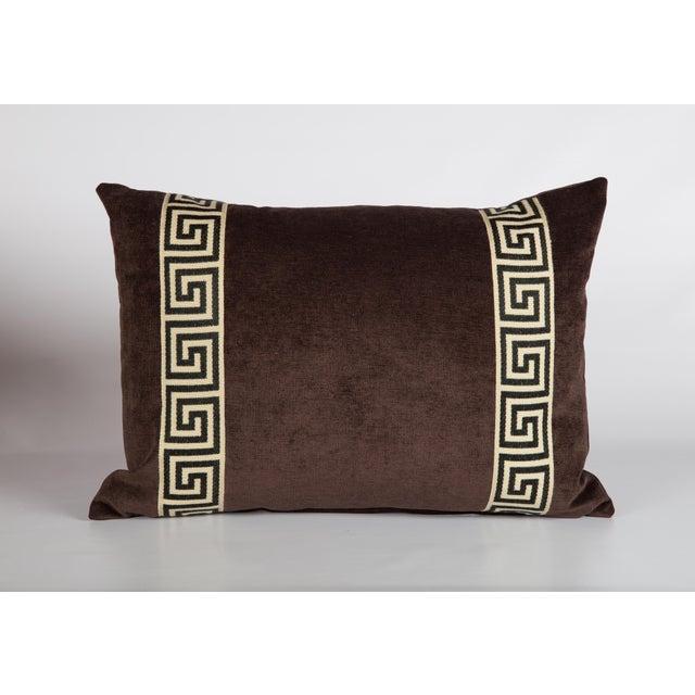 Eggplant Velvet Greek Key Lumbar Pillow For Sale - Image 4 of 4