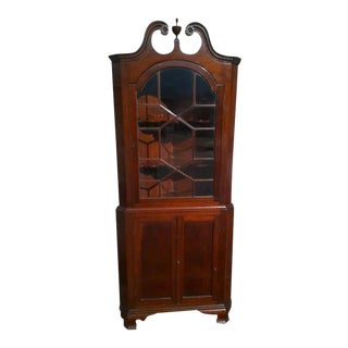 Colonial Revival Mahogany Corner Cupboard Cabinet For Sale