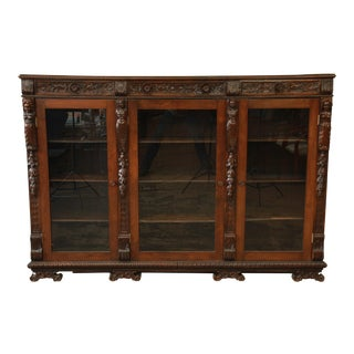 Antique Ornate Carved French Triple Bookcase
