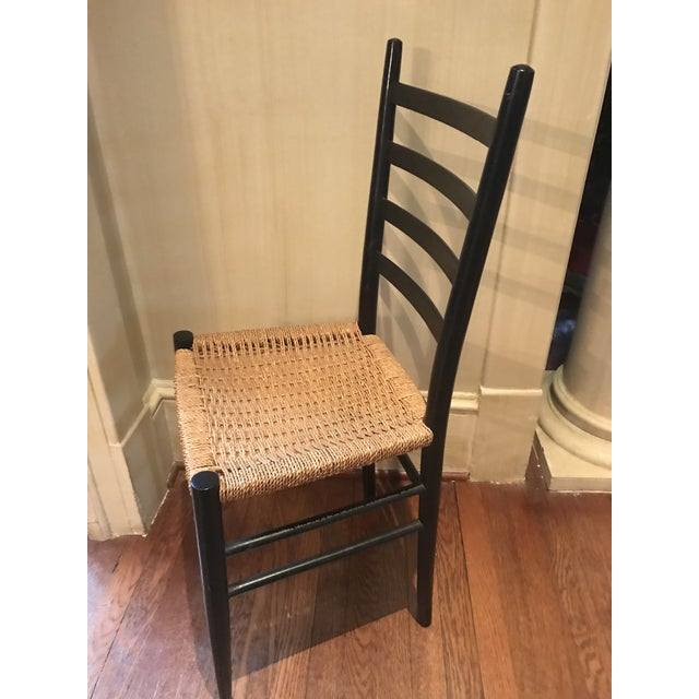 Gio Ponti Vintage Mid Century Gio Ponti Black Lacquer Woven Ladder Back Chairs-A Pair For Sale - Image 4 of 7