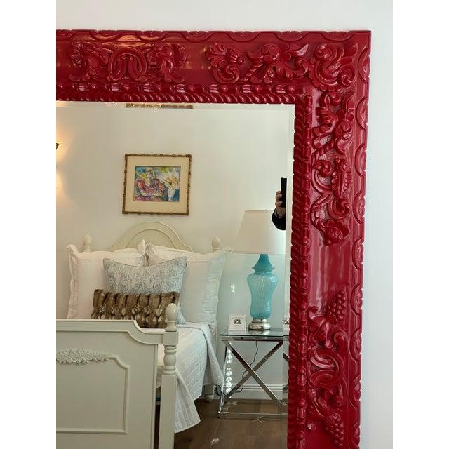 Huge Red Lacquer Carved Wood Italian Floor Mirror by Randy Esada Designs