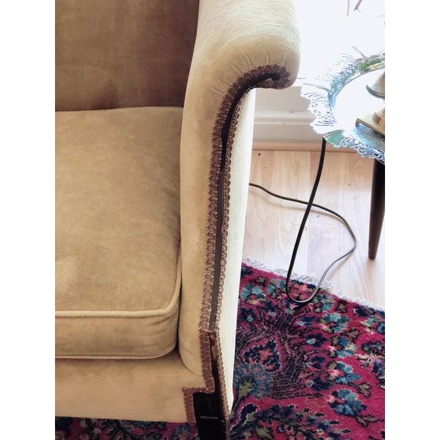 English Vintage Tobacco Color Velvet Camel Back Sofa For Sale - Image 3 of 10